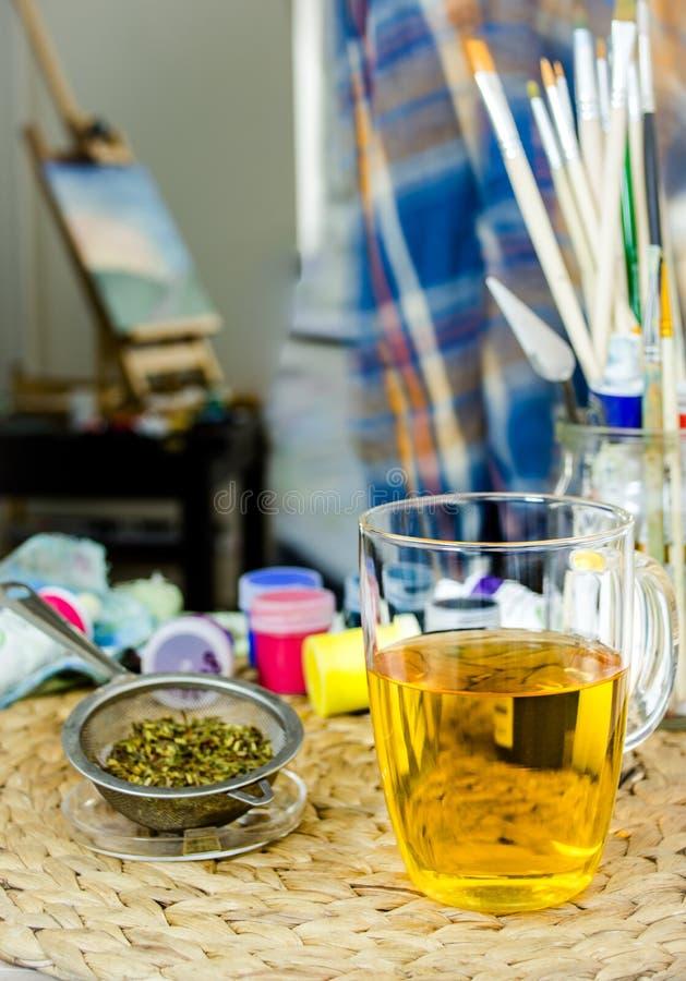 Té verde y creatividad foto de archivo