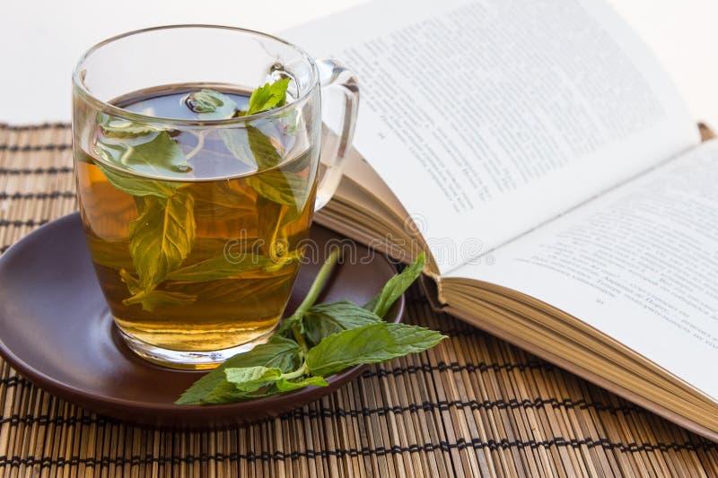 Té verde y hojas de la menta en una taza de cristal con un libro imagenes de archivo