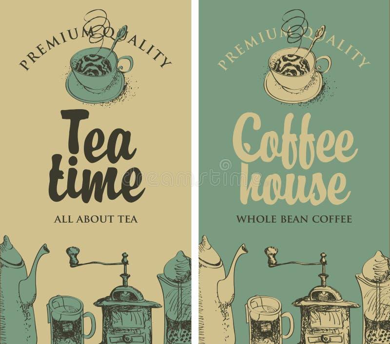 Té y café con el equipo de la cocina ilustración del vector