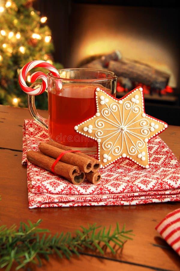 Té y galleta de la Navidad imagen de archivo