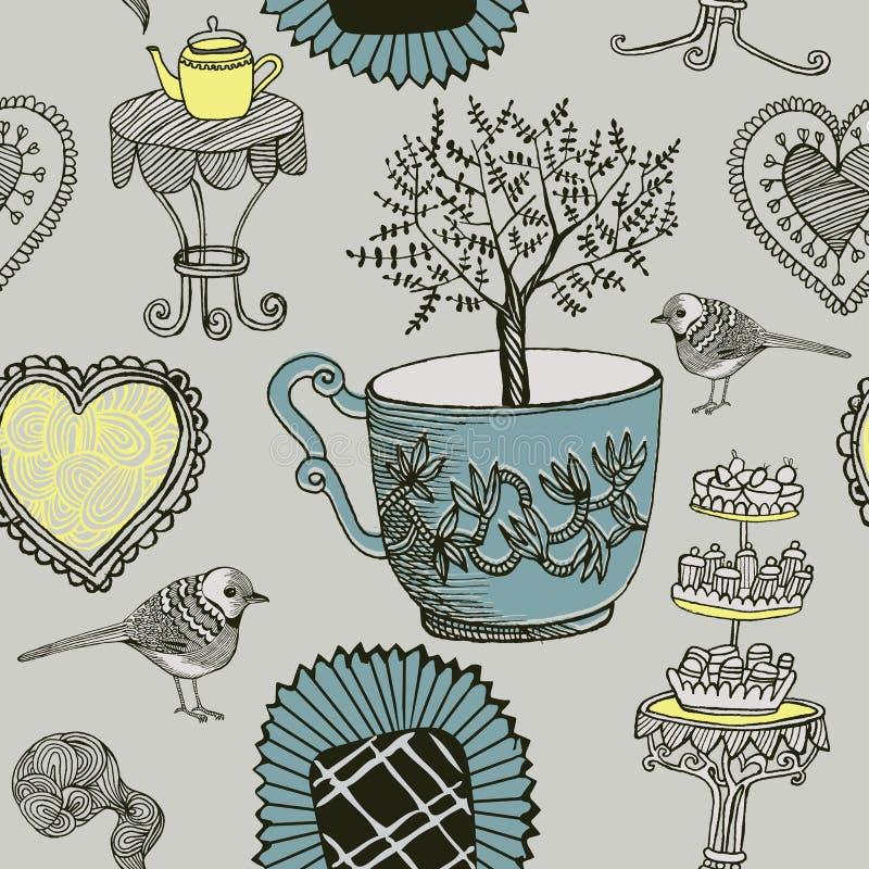 Té y pájaros. ilustración del vector