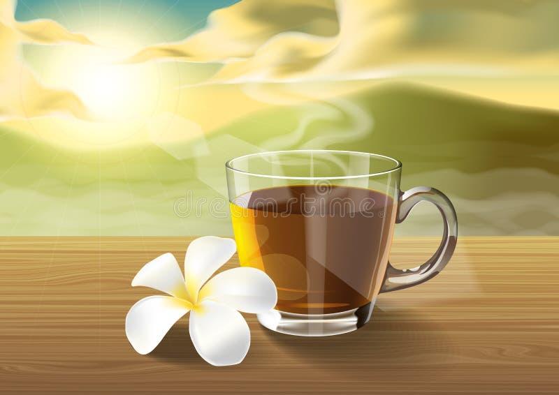 Té y plumeria en la tabla de madera en la mañana stock de ilustración