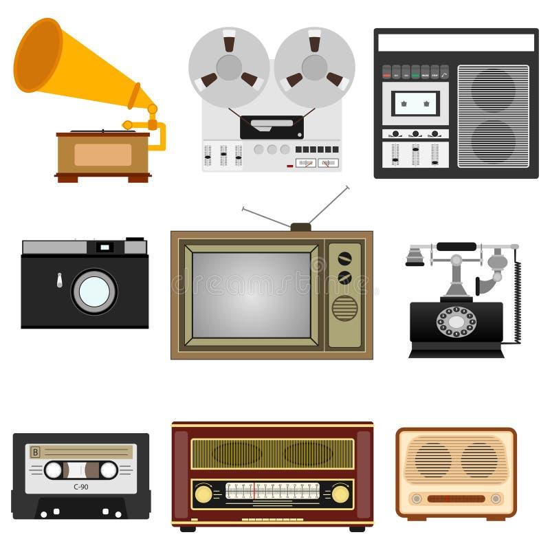 Técnica retro Tevê, gramofone, gravador da bobina, rádio, telefone ilustração royalty free