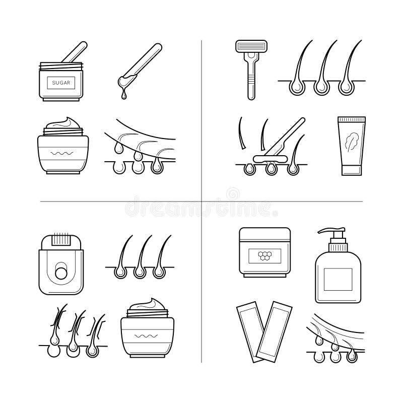 Técnicas da depilação no processo ilustração do vetor