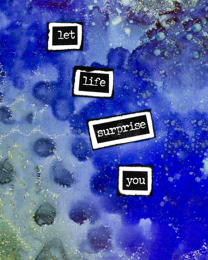 Técnicas mixtas abstractas azules encouraging Art Photograph stock de ilustración