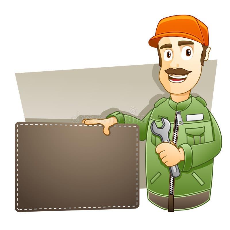 Técnico com bandeira ilustração stock