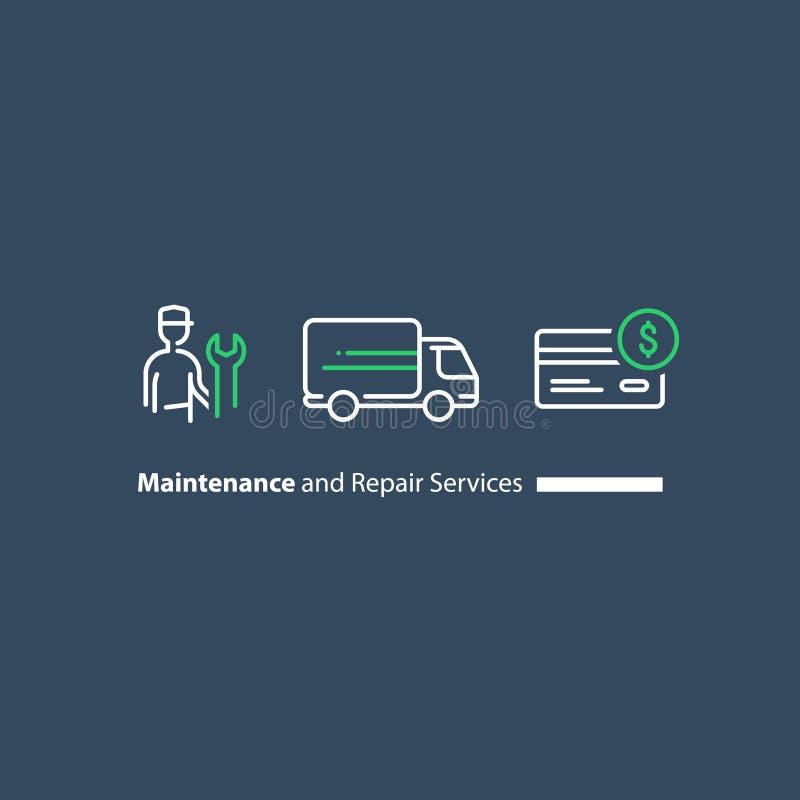 Técnico com chave inglesa, apoio ao cliente, reparadores manutenção, entrega do caminhão, grupo do ícone da compra de cartão de c ilustração royalty free