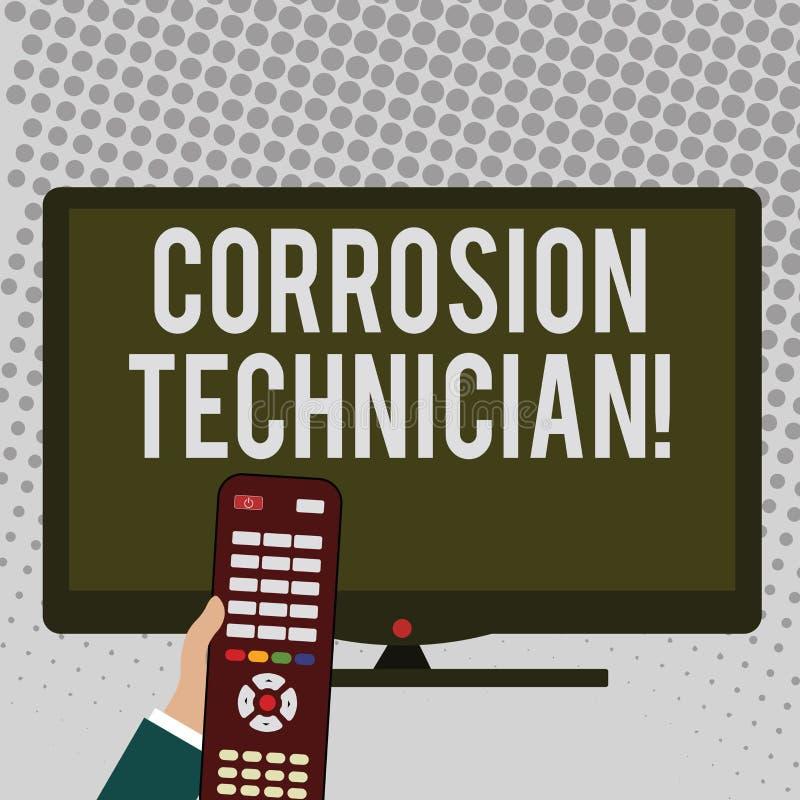 Técnico da corrosão da escrita do texto da escrita Conceito que significa sistemas de controlo da corrosão da instalação e d ilustração do vetor