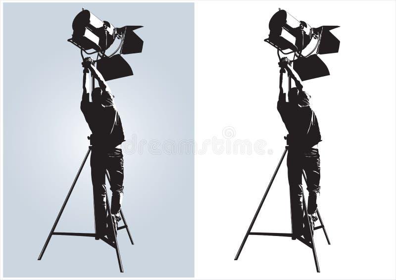 Técnico de la iluminación ilustración del vector