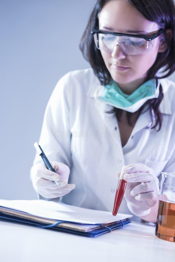 Técnico de laboratório fêmea Dealing With Flask que contém produtos químicos líquidos foto de stock