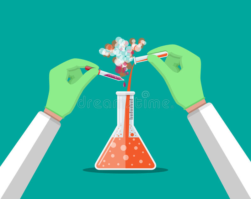 Técnico de laboratório que guarda o tubo de vidro e a pipeta ilustração stock