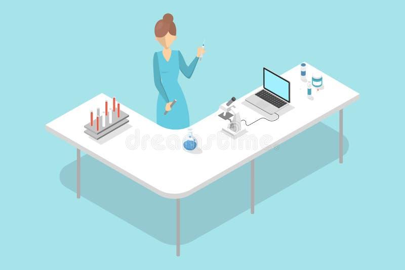 Técnico de laboratorio que hace el análisis de sangre en laboratorio del hospital ilustración del vector