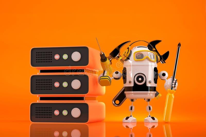 Técnico do robô que faz a manutenção no servidor Contem o trajeto de grampeamento ilustração royalty free