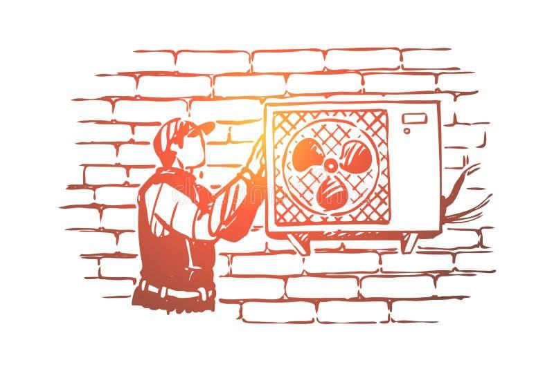 T?cnico que repara al fan, manitas en el casquillo enarbolado que instala el acondicionador, sistema de condicionamiento ilustración del vector