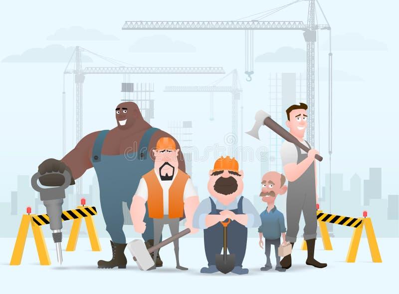 Técnico y constructores e ingenieros y trabajo en equipo de los mecánicos y del trabajador de construcción, personaje de dibujos  ilustración del vector