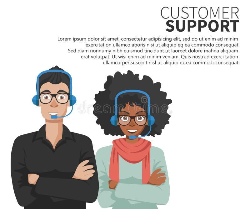 Técnicos do serviço do cuidado do cliente empresa Conceito da sustentação Vetor liso ilustração stock