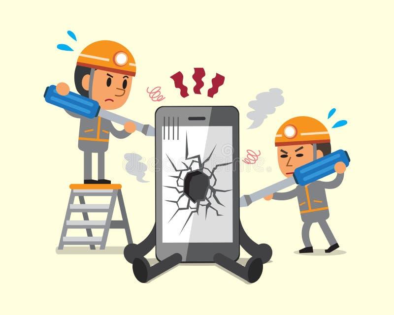 Técnicos dos desenhos animados que reparam o smartphone quebrado smartphone ilustração do vetor