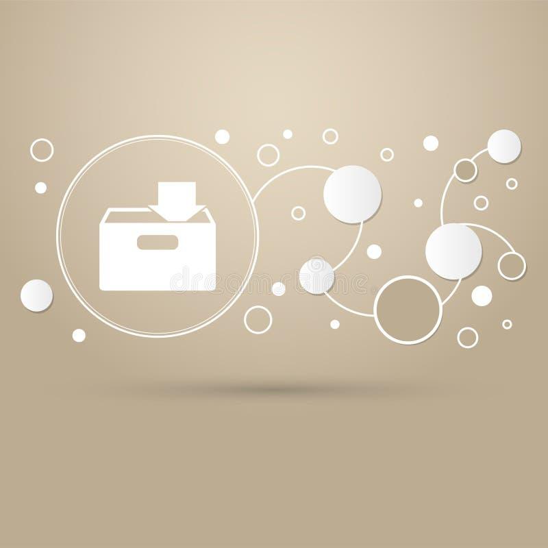 Téléchargement à l'icône de hdd sur un fond brun avec le style élégant et la conception moderne infographic illustration de vecteur