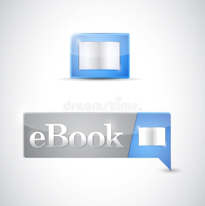 Téléchargement bleu de bouton d'icône d'Ebook illustration de vecteur