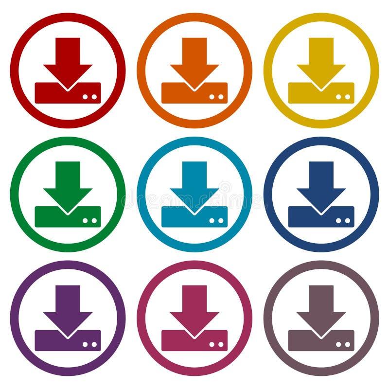 Téléchargement de vecteur aux icônes de hdd réglées illustration stock