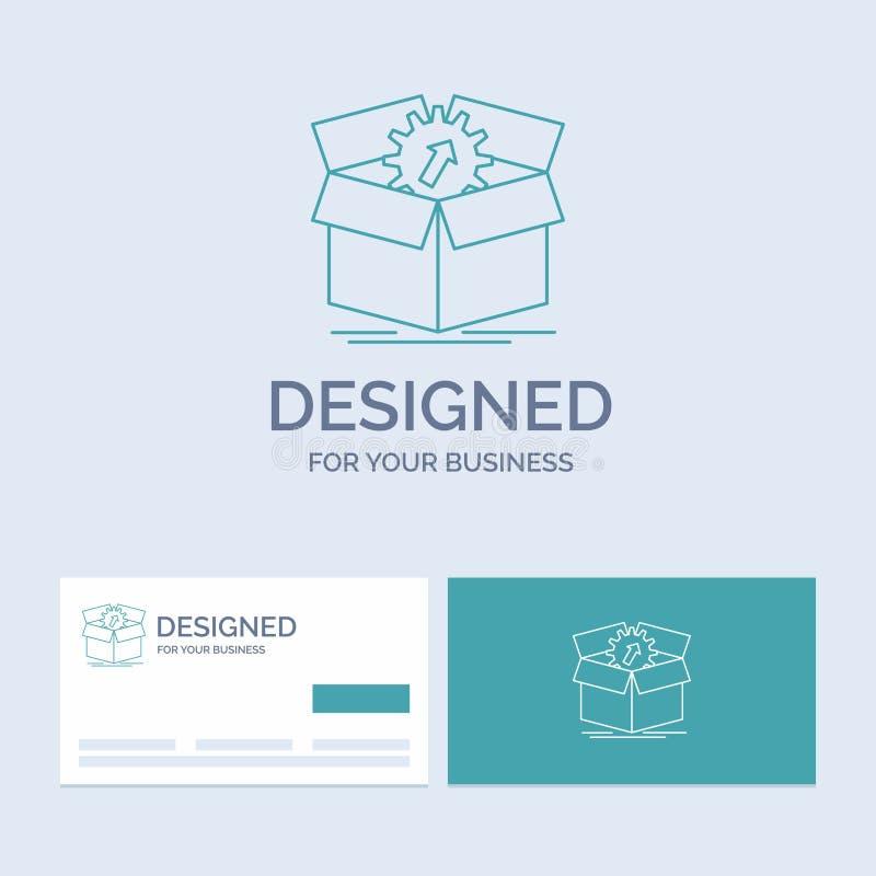 téléchargement, représentation, productivité, progrès, affaires Logo Line Icon Symbol de travail pour vos affaires Cartes de visi illustration stock