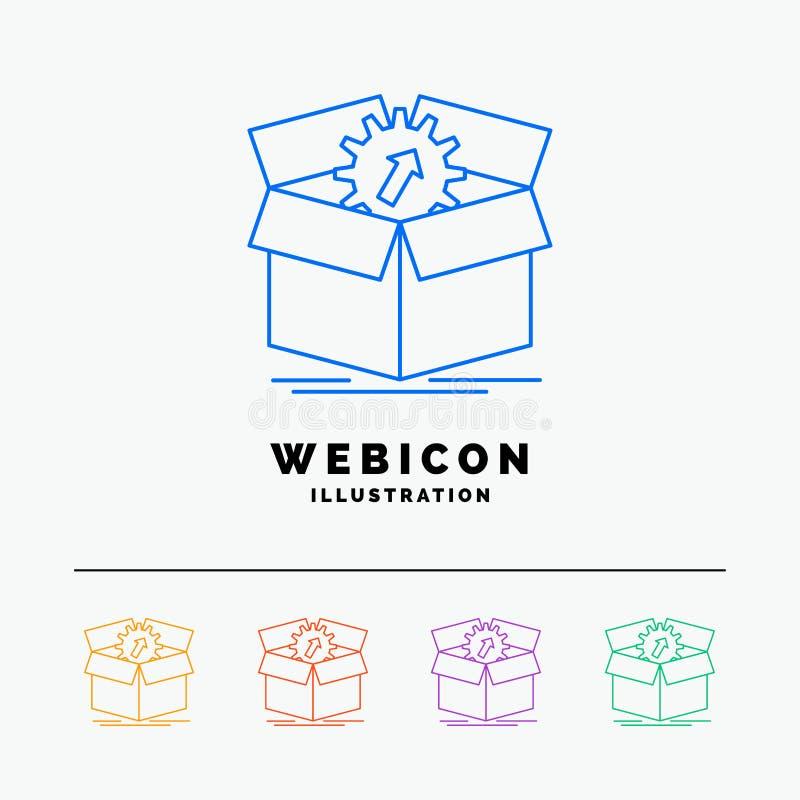 téléchargement, représentation, productivité, progrès, discrimination raciale du travail 5 calibre d'icône de Web d'isolement sur illustration stock