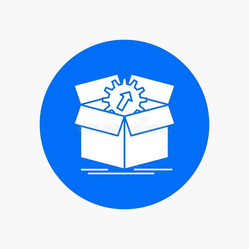téléchargement, représentation, productivité, progrès, icône blanche de Glyph de travail en cercle Illustration de bouton de vect illustration stock