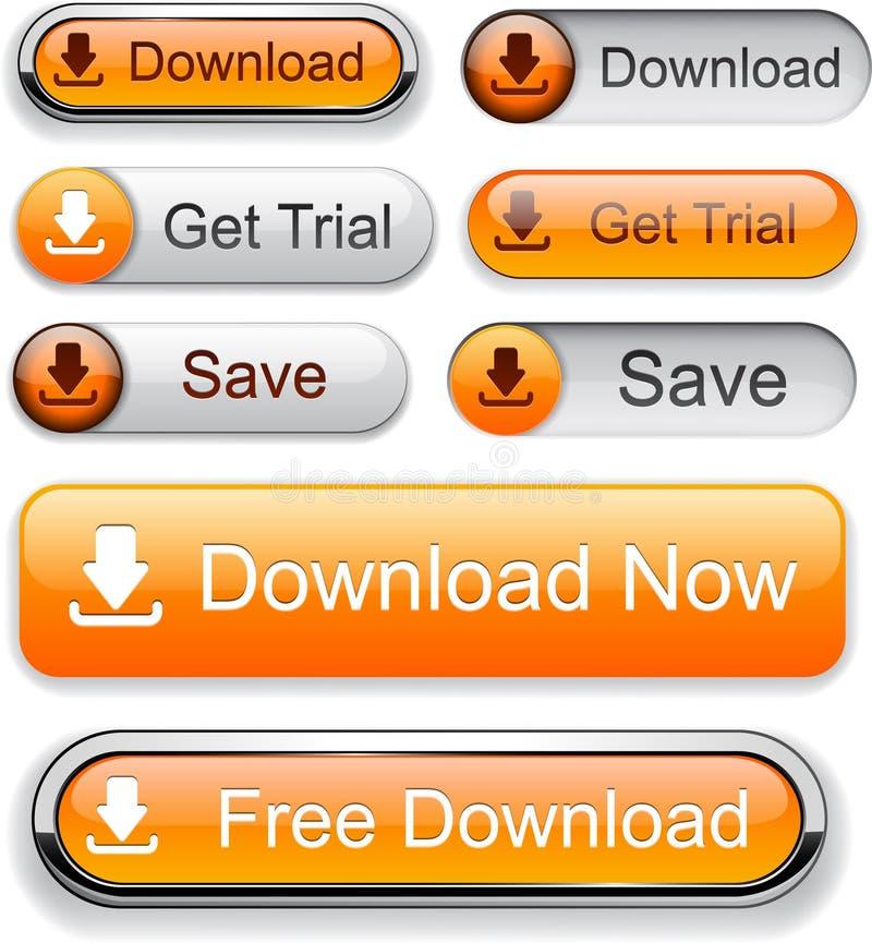 Téléchargez les boutons modernes haut-détaillés. illustration stock