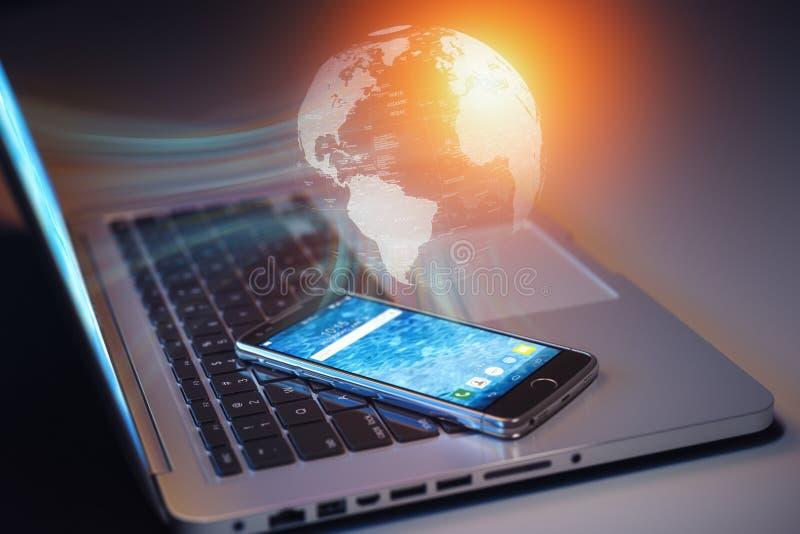 Télécommunication mondiale, connexion internet et concept de réseau Smartphone d'amd d'ordinateur portable relié à l'Internet glo illustration de vecteur