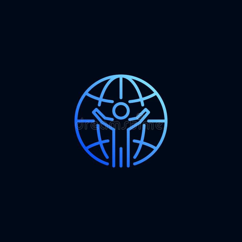 Télécommunication mondiale de ligne icône de personnes Illustration de vecteur dans le style lin?aire illustration stock