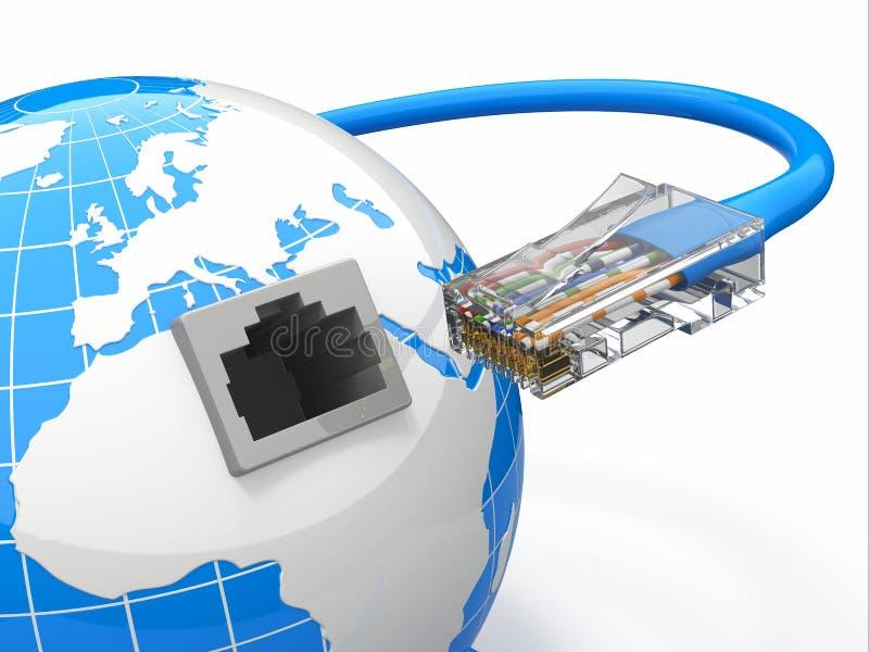 Télécommunication mondiale. La terre et câble, rj45. illustration de vecteur