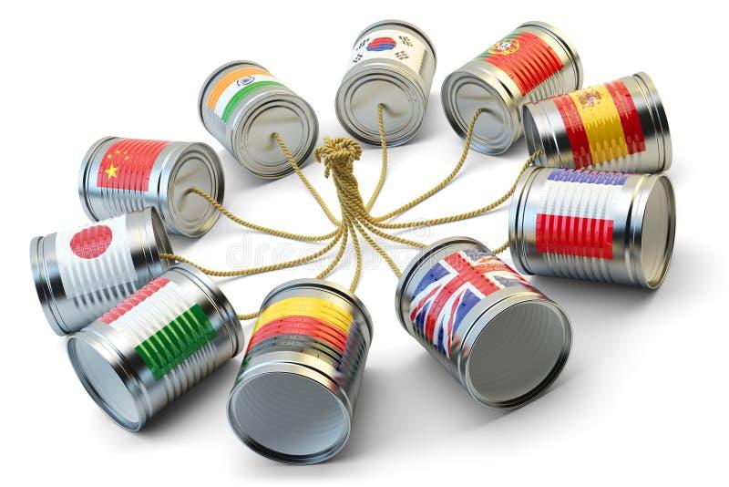 Télécommunication mondiale, transmission de messages internationale et concept de traduction illustration stock