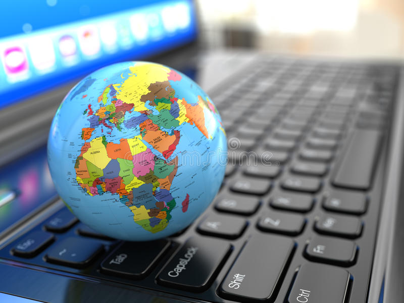 Télécommunications mondiales. La terre sur le ceyboard d'ordinateur portable. illustration libre de droits