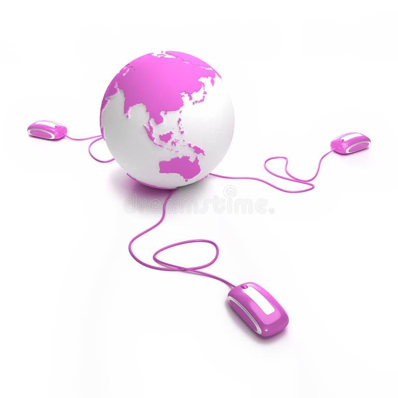 Télécommunications mondiales roses Asie installée illustration de vecteur