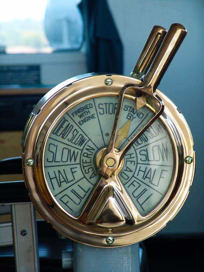 Télégraphe pour le contrôle de moteur de bateau photo libre de droits