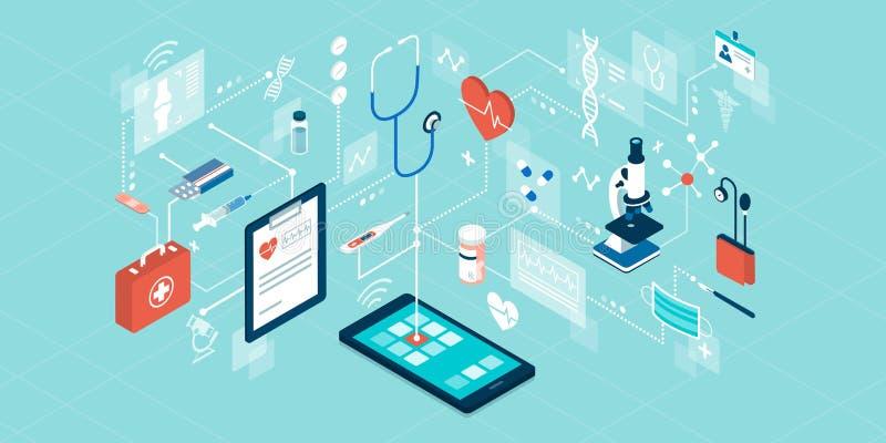 Télémédecine et services en ligne de soins de santé illustration de vecteur
