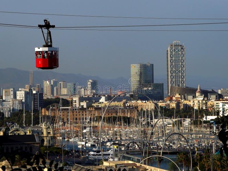 Téléphérique à Barcelone images libres de droits