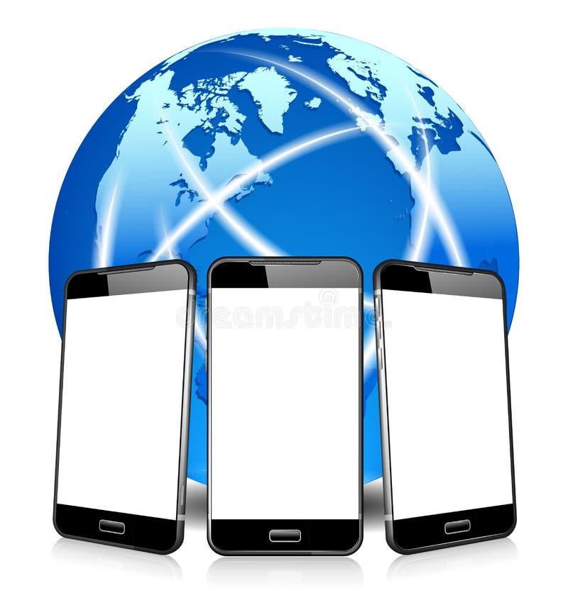 Téléphonant l'appel mobile futé de cellules de téléphone, téléphonant n'importe où dans le monde illustration libre de droits