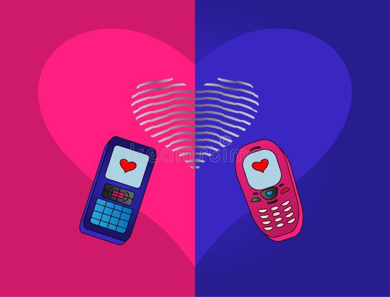 Téléphone-amoureux illustration libre de droits