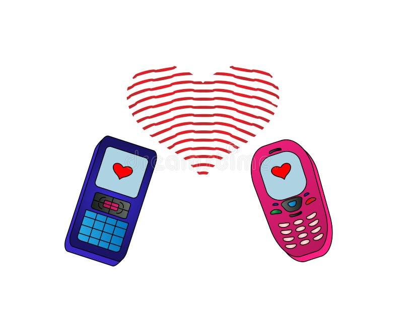 Téléphone-amoureux d'isolement illustration libre de droits