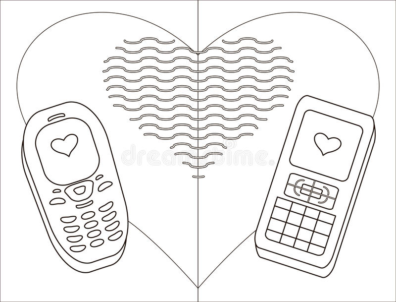 Téléphone-amoureux mobile, formes illustration de vecteur
