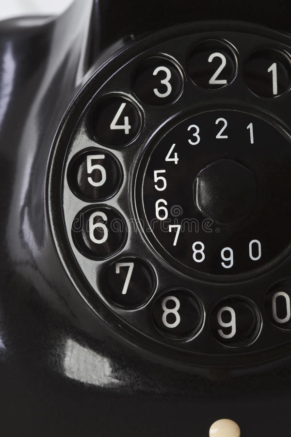 Téléphone antique, plat de cadran, fin  images libres de droits