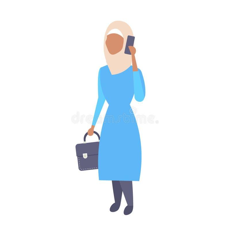 Téléphone arabe de femme appelle la serviette arabe de participation de femme d'affaires portant les vêtements traditionnels pers illustration de vecteur