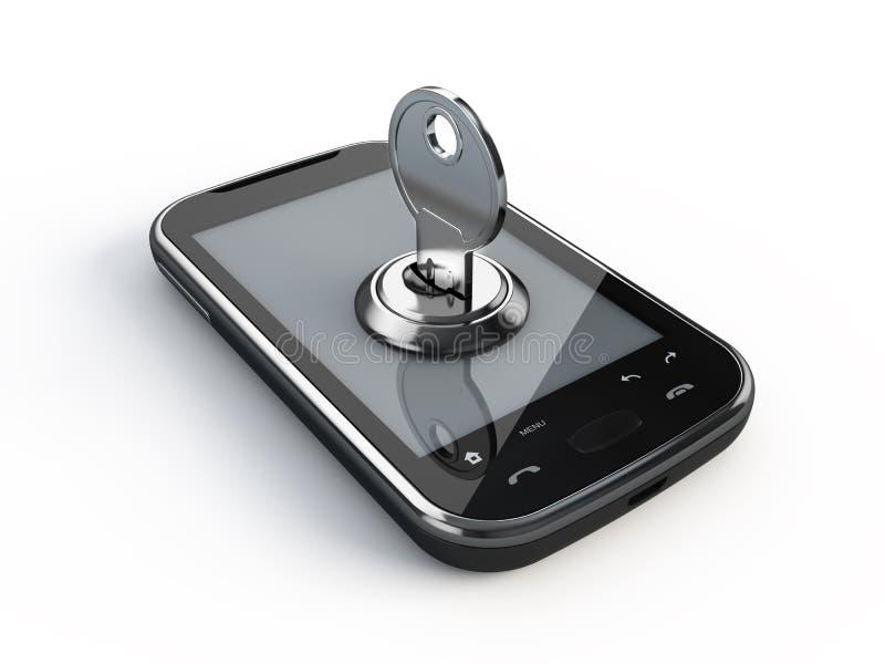 Téléphone avec la clé illustration stock