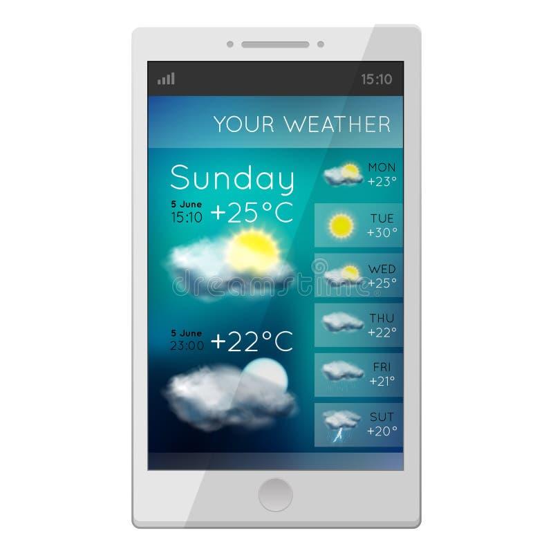 Téléphone blanc avec l'instrument de temps illustration stock