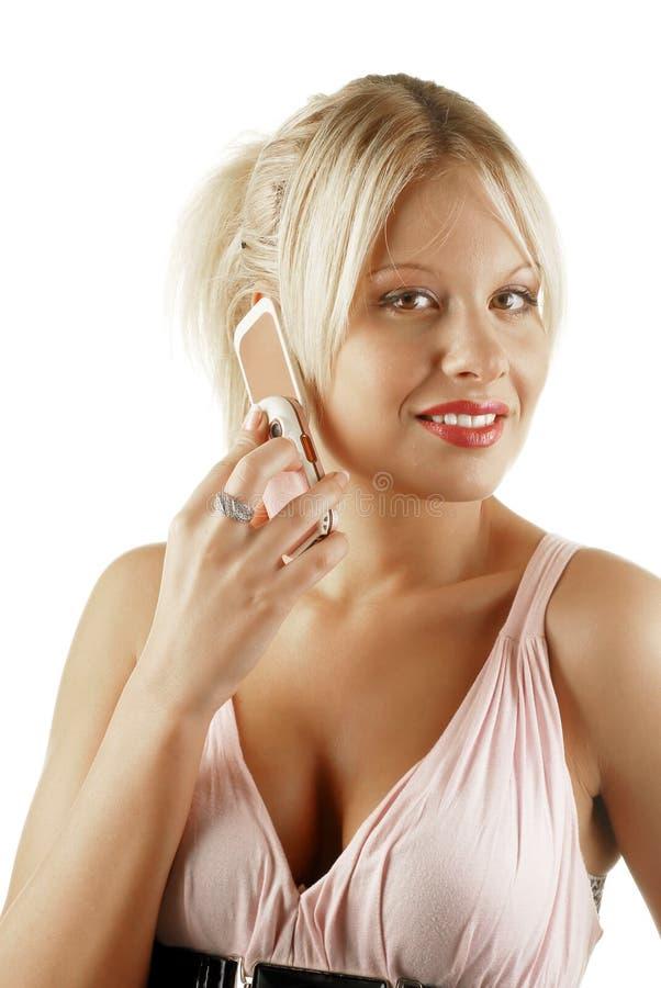 Download Téléphone Blond De Femelle De Cellules De Beauté Photo stock - Image du moderne, assez: 8664928