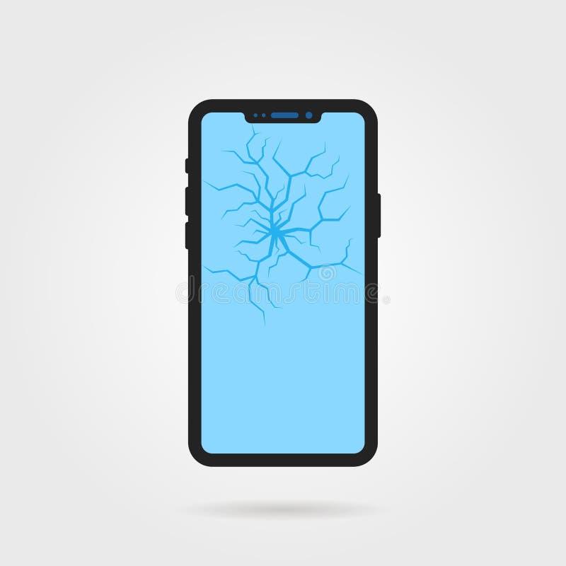 Téléphone cassé frameless noir illustration de vecteur