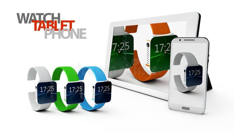 téléphone 3d et Tablette avec la montre sur le fond blanc illustration de vecteur