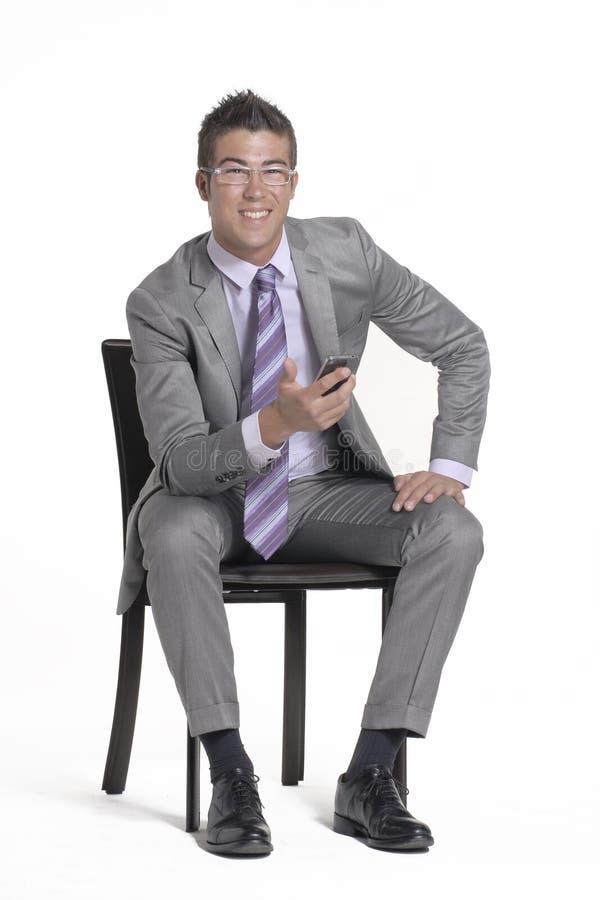 Téléphone d'homme d'affaires. photo stock