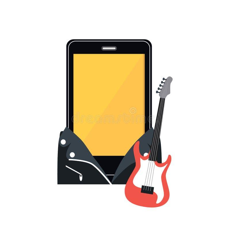Téléphone dans une veste en cuir noire illustration stock